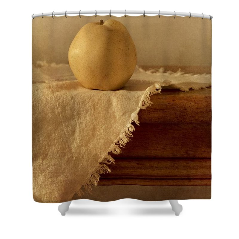 Dining Room Shower Curtain featuring the photograph Apple Pear On A Table by Priska Wettstein
