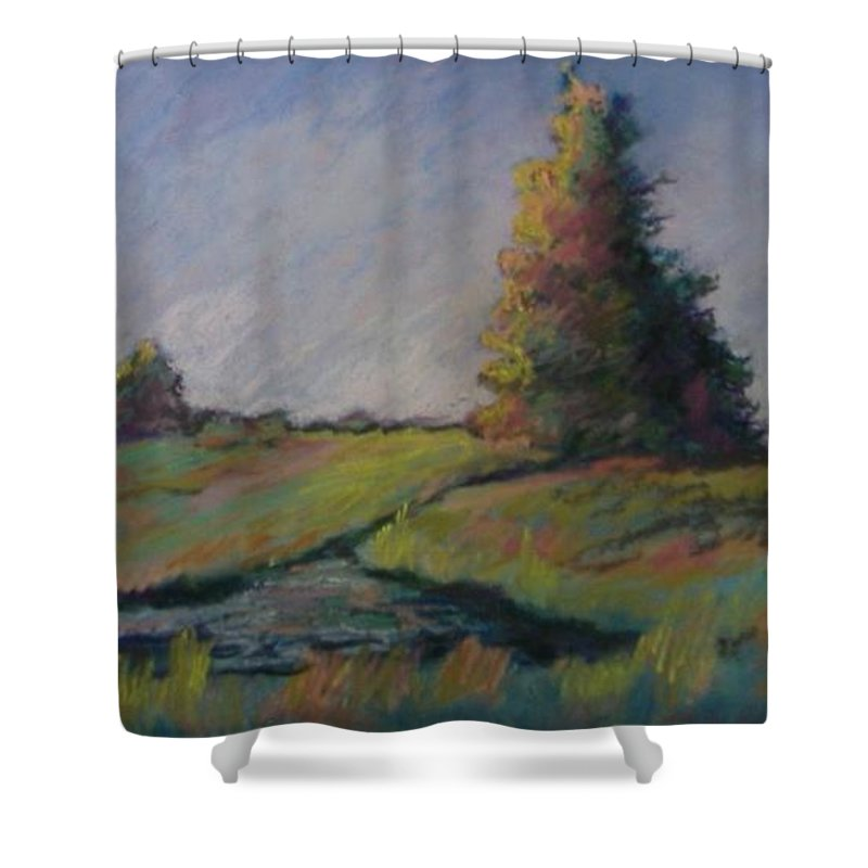 Landscape Shower Curtain featuring the pastel Apple Pond by Pat Snook