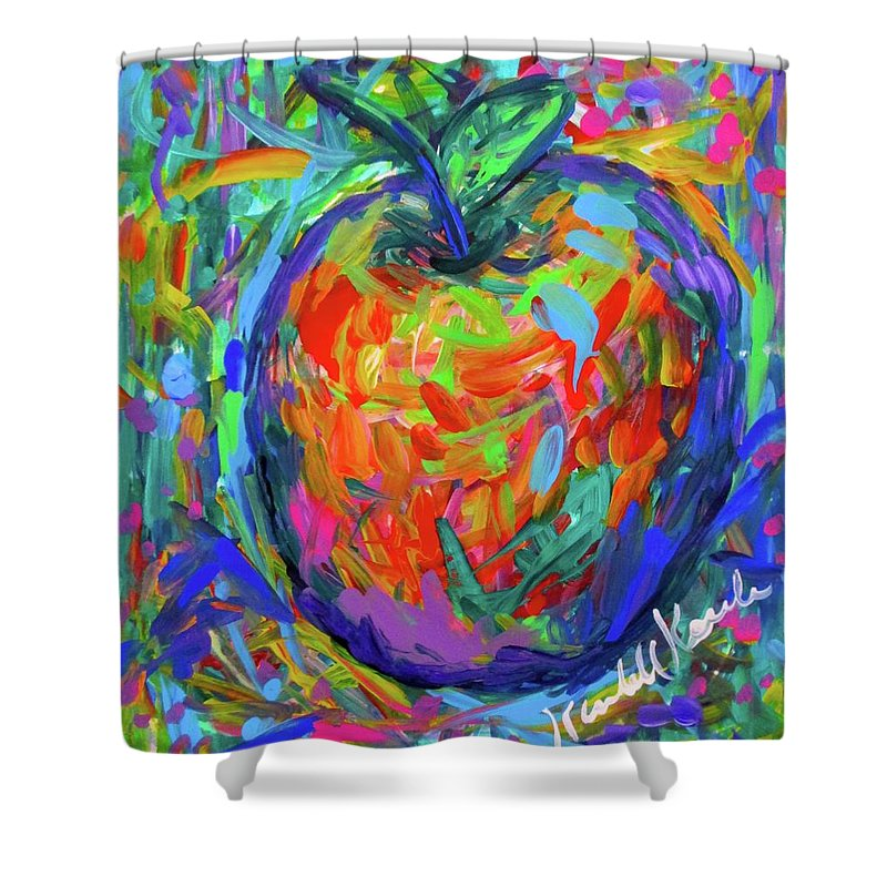 Apple Shower Curtain featuring the painting Apple Splash by Kendall Kessler