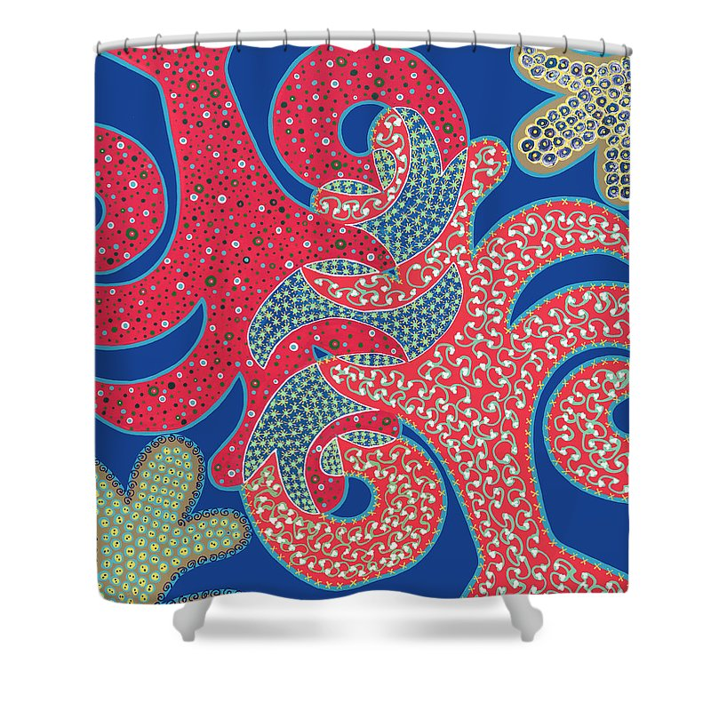 Abstract Shower Curtain featuring the painting Apple Tree And Cacti by Louise Hankes