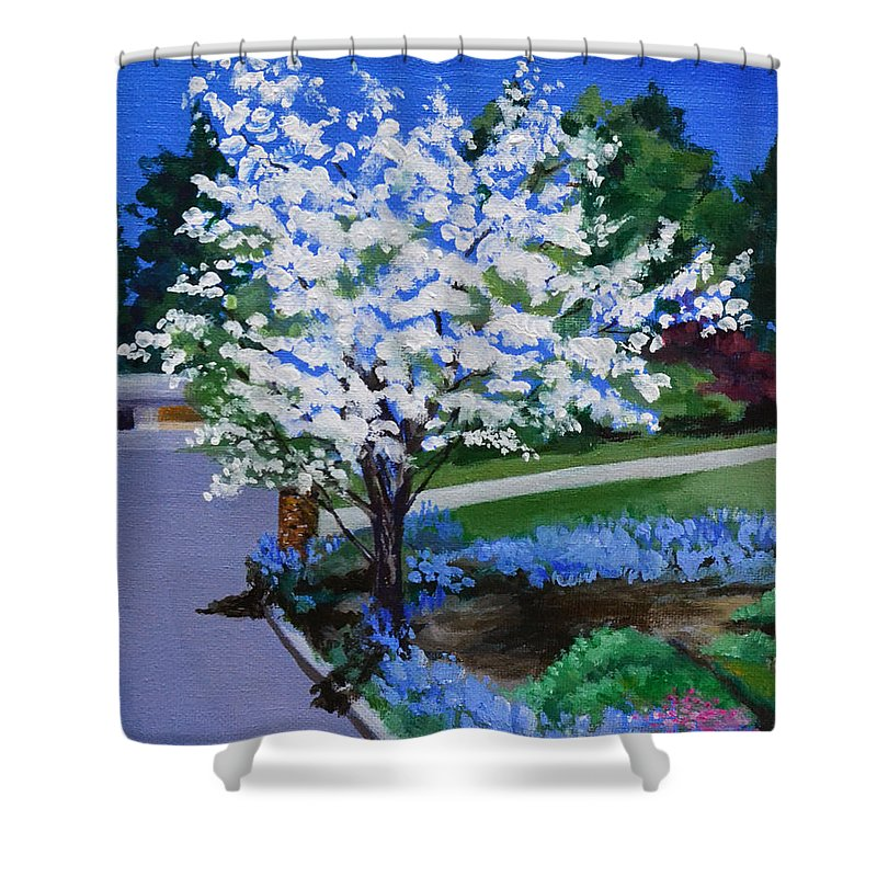 Apple Tree Shower Curtain featuring the painting Apple Tree in Spring by Mary Chant