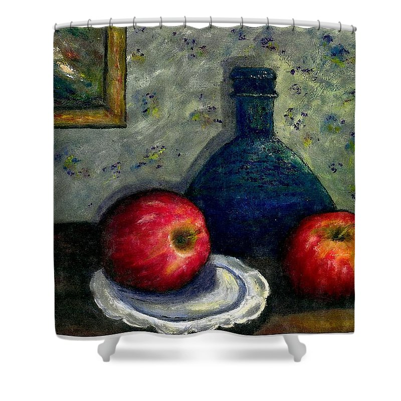 Still Life Shower Curtain featuring the painting Apples And Bottles by Gail Kirtz