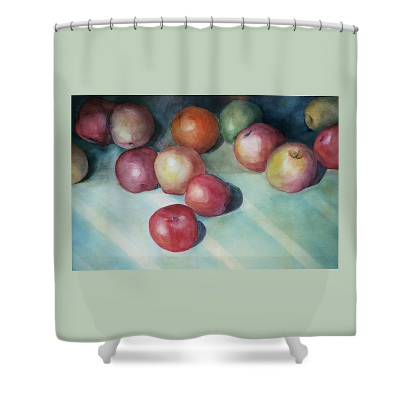 Orange Shower Curtain featuring the painting Apples and Orange by Jun Jamosmos