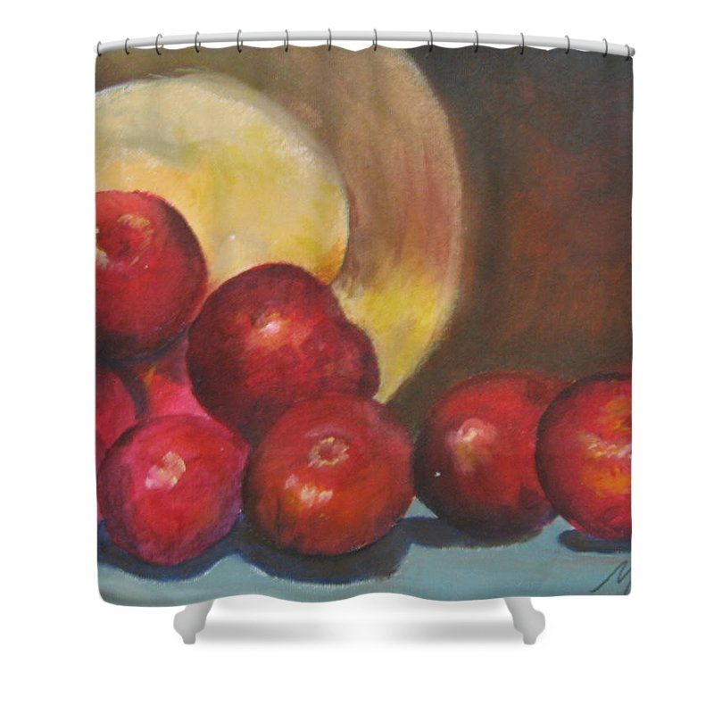 Apples Shower Curtain featuring the painting Apples by Melody Horton Karandjeff