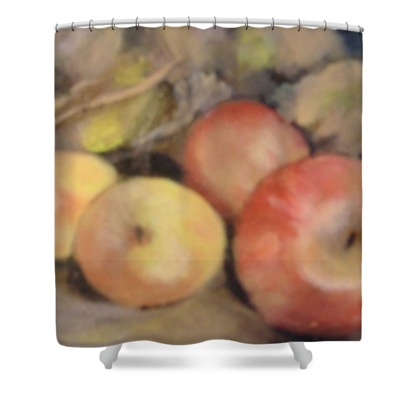 Fruit Shower Curtain featuring the painting Apples by Pat Snook
