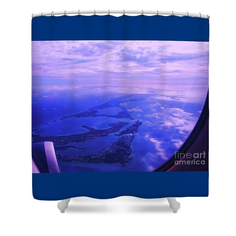 Aerial Art Bermuda Cloud Ocean Outdoors Serene Aviation Travel Destination Island Life Sky Through A Window Airplane Engine Metal Frame Canvas Print Poster Print Available On Pouches Tote Bags Phone Cases Weekender Tote Bags T Shirts Shower Curtains Throw Pillows Mugs Duvet Covers And Mugs Shower Curtain featuring the photograph Approaching Bermuda by Marcus Dagan