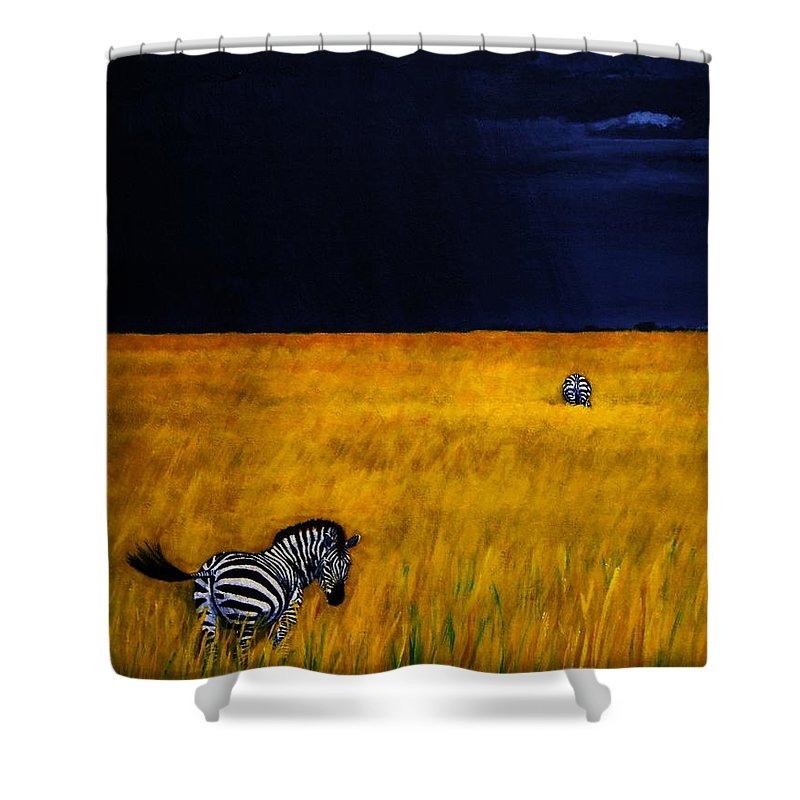 African Landscape Zebra Storm Clouds Edith Peterson Watson Scenery Nature Animals Wildlife Shower Curtain featuring the painting Approaching Storm by Edith Peterson-Watson