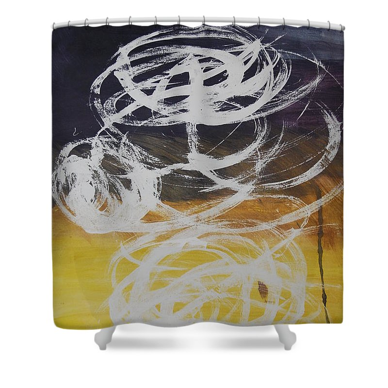 Learning Shower Curtain featuring the painting Aprendiendo by Lauren Luna