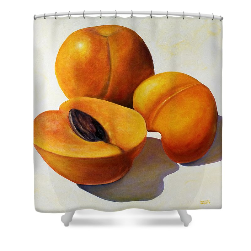 Apricots Shower Curtain featuring the painting Apricots by Shannon Grissom