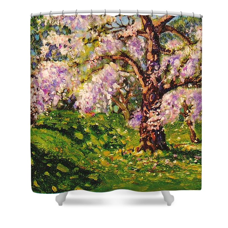 Scenic Shower Curtain featuring the painting April Dream by Jonathan Carter