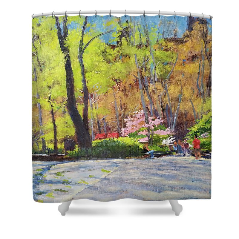 Shower Curtain featuring the painting April Morning In Carl Schurz Park by Peter Salwen