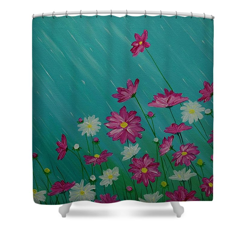 Flowers Shower Curtain featuring the painting April Showers by Emily Page