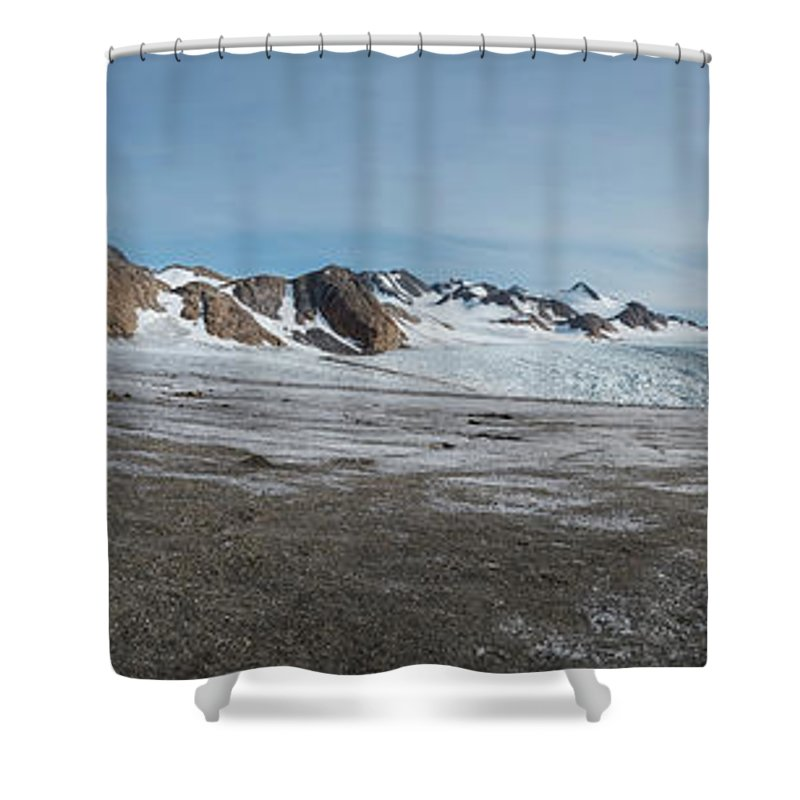 Blue Shower Curtain featuring the photograph Apusiaquik Glacier Greenalnd Pano 7334-7351 by Bob Neiman