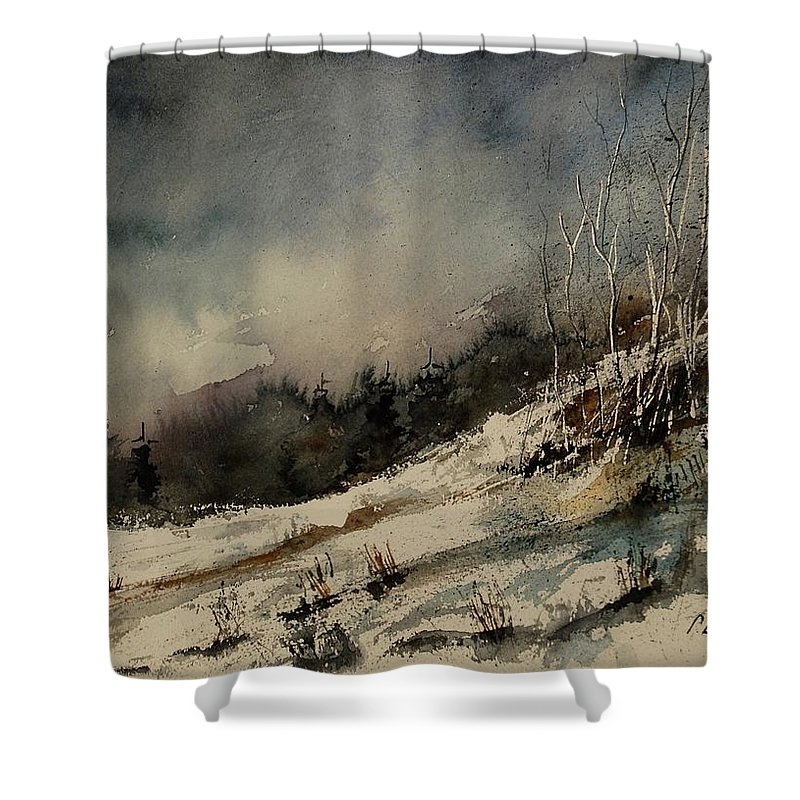 Winter Shower Curtain featuring the painting Aqua 051207 by Pol Ledent