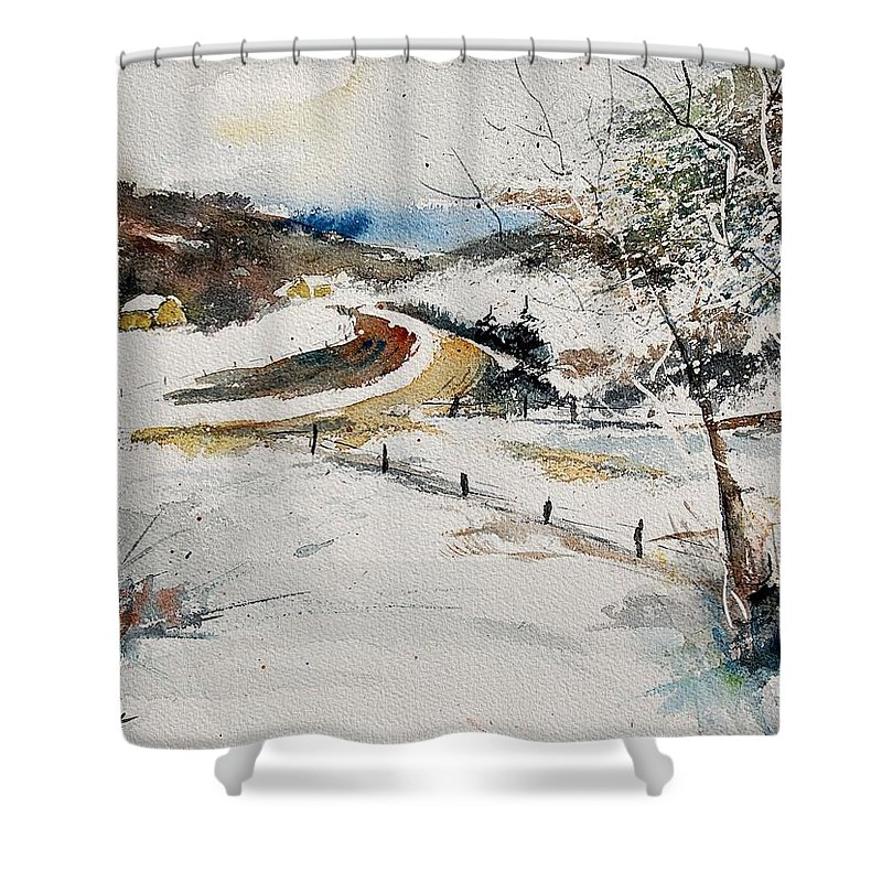 Landscape Shower Curtain featuring the painting Aqua 220908 by Pol Ledent