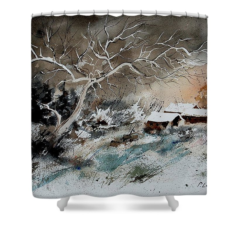 Winter Shower Curtain featuring the painting Aqua 290108 by Pol Ledent