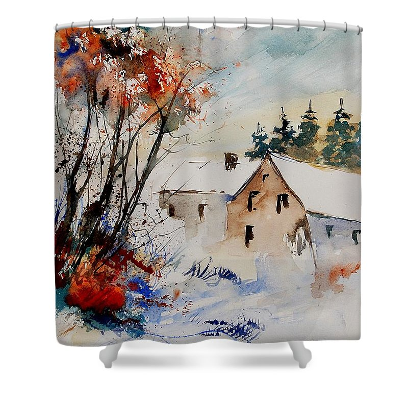 Winter Shower Curtain featuring the painting Aqua 905070 by Pol Ledent