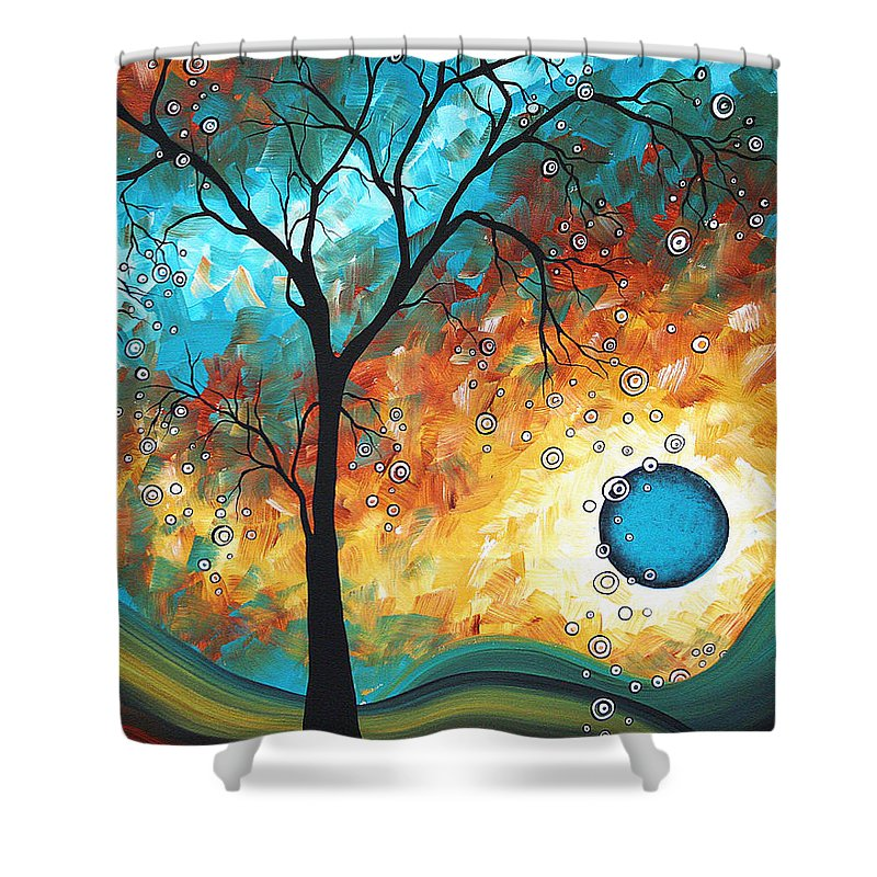 Art Shower Curtain featuring the painting Aqua Burn By Madart by Megan Duncanson