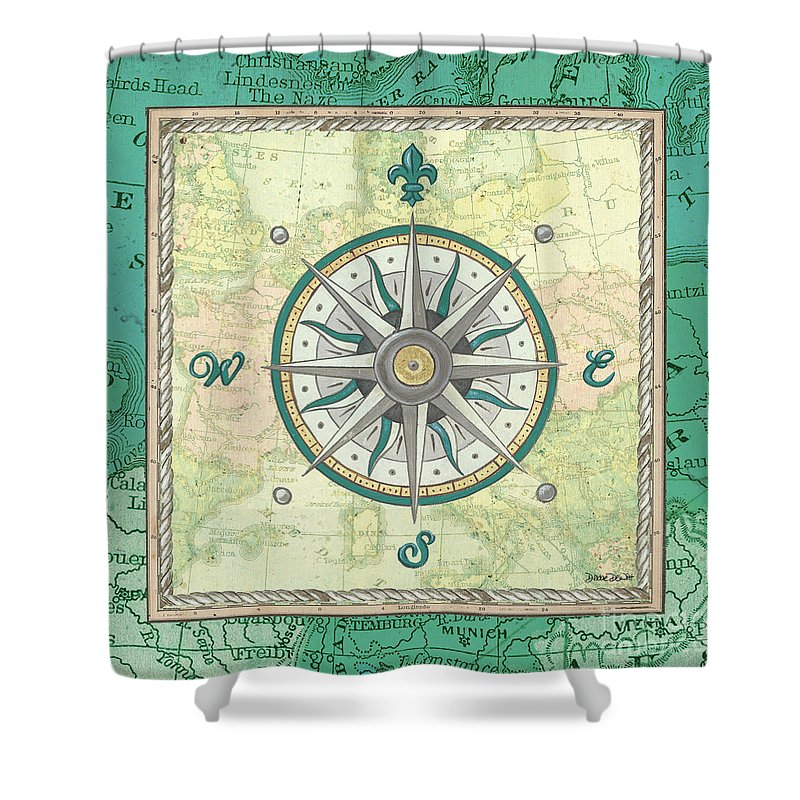 Ocean Shower Curtain featuring the painting Aqua Maritime Compass by Debbie DeWitt