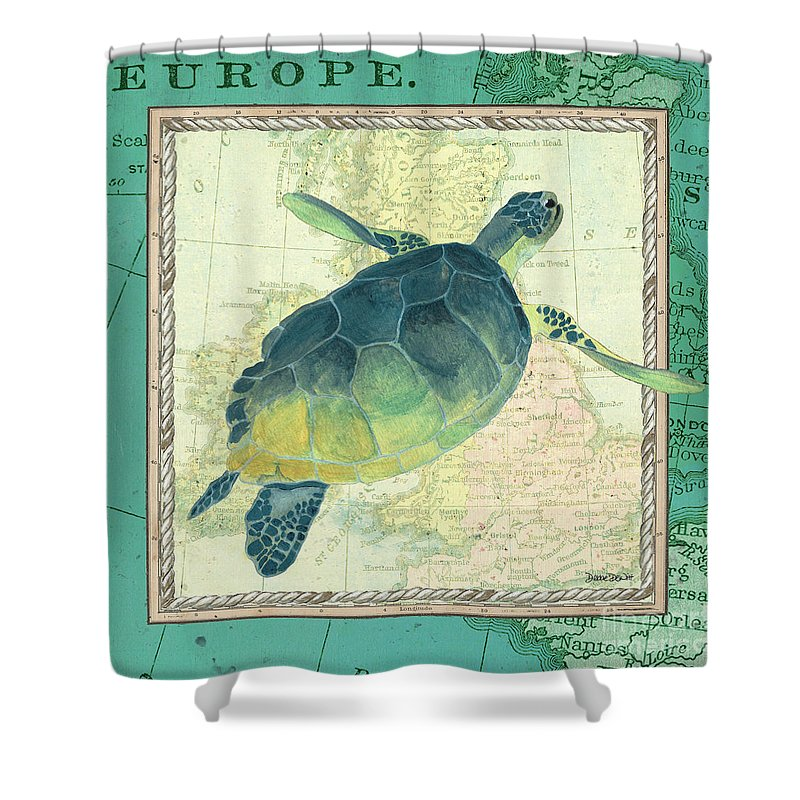 Turtle Shower Curtain Featuring The Painting Aqua Maritime Sea By Debbie DeWitt