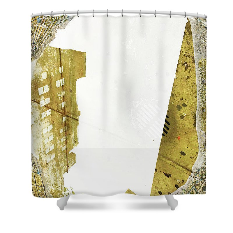 Water Shower Curtain featuring the mixed media Aqua Metallic Series Together Apart by Tony Rubino