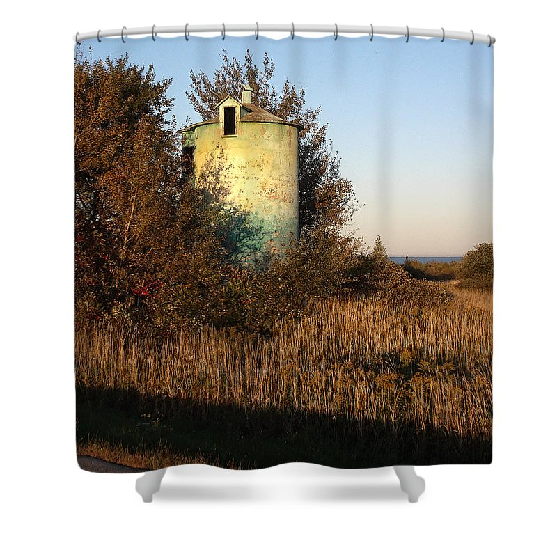 Silo Shower Curtain featuring the photograph Aqua Silo by Tim Nyberg