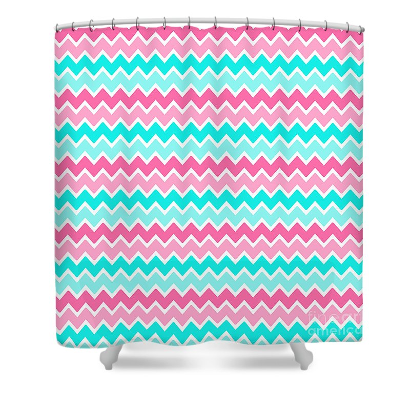 Aqua Turquoise Blue And Hot Pink Chevron Shower Curtain For Sale By Laura DeCamp