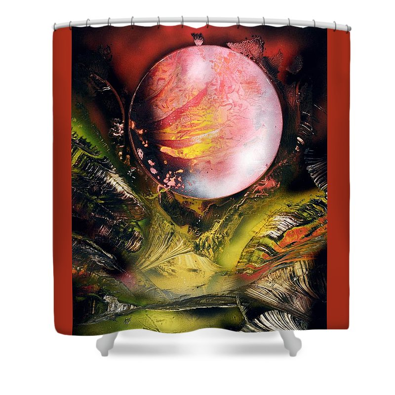 Fantasy Shower Curtain featuring the painting Aqua Valley by Nandor Molnar