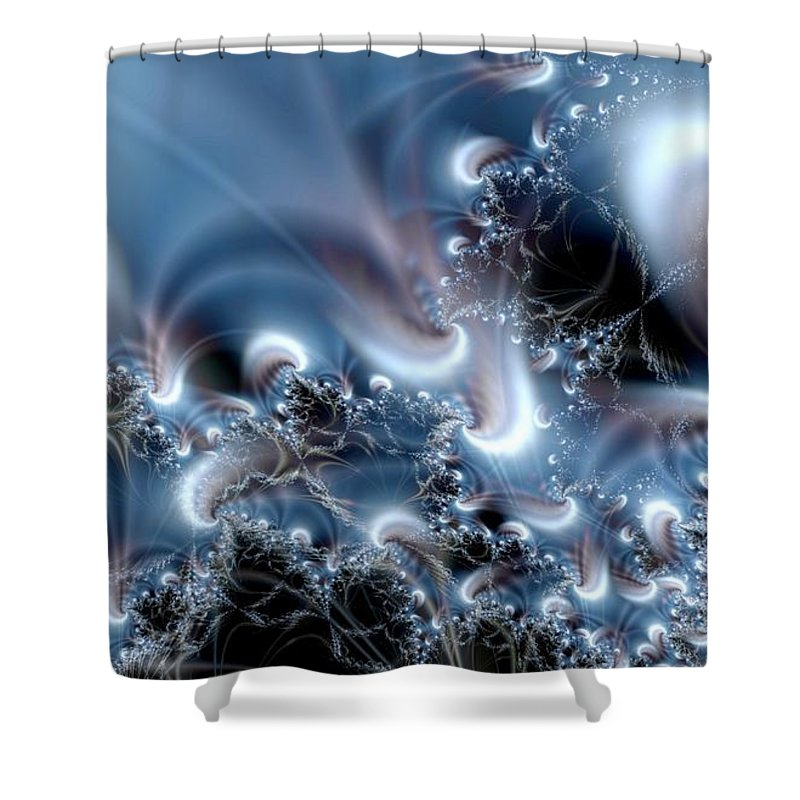 Water Bubbles Blue Nature Flow Shower Curtain featuring the digital art Aquafractal by Veronica Jackson