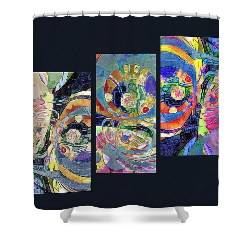 Digital Art. Abstract. Mad Vision. Riot. Explosion. Shower Curtain featuring the digital art Aquatic by Lawrence Allen