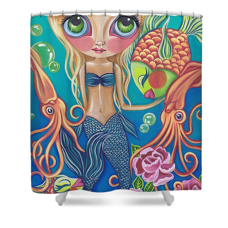 Mermaid Shower Curtain Featuring The Painting Aquatic By Jaz Higgins
