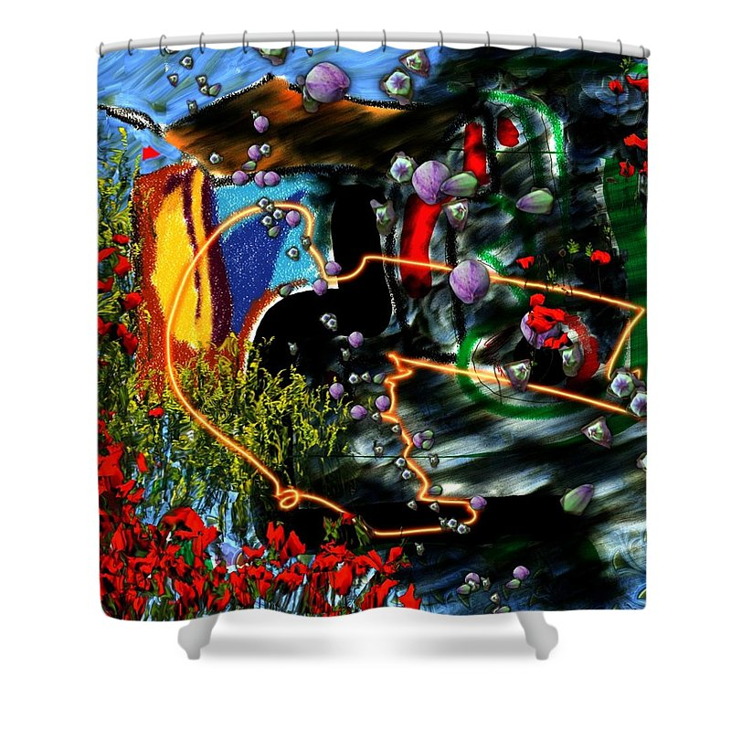 Ocean Water Deep Sea Nature Salad Shower Curtain featuring the digital art Aquatic Salad by Veronica Jackson