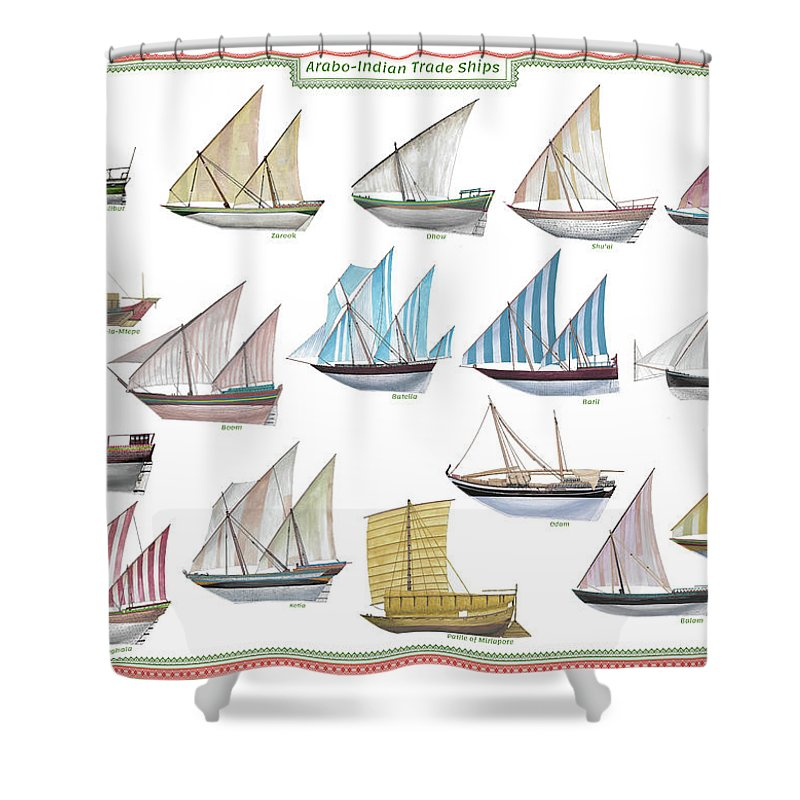 Boat Shower Curtain featuring the painting Arab and Indian trade ships by The Collectioner