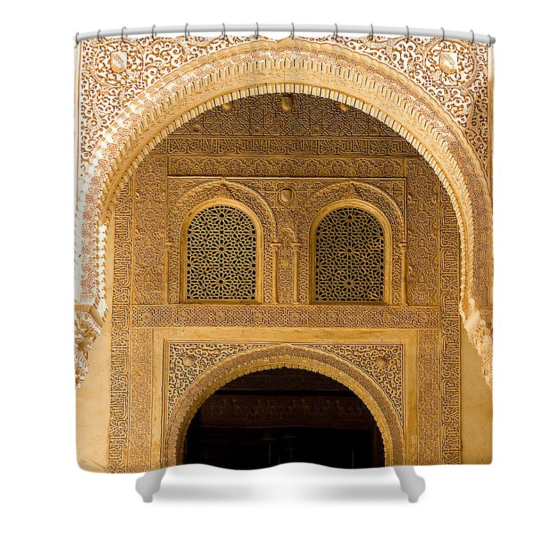 Cuarto Shower Curtain featuring the photograph Arabesque Ornamental Designs At The Casa Real In The Nasrid Palaces At The Alhambra by Mal Bray
