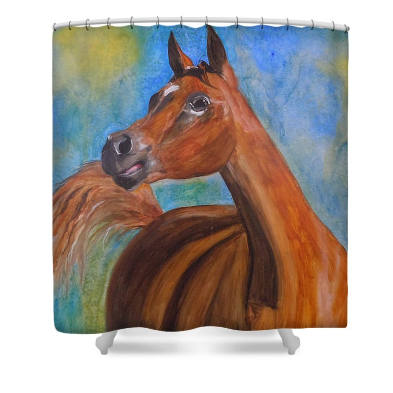 Horse Shower Curtain featuring the painting Arabian Beauty by Jean Blackmer