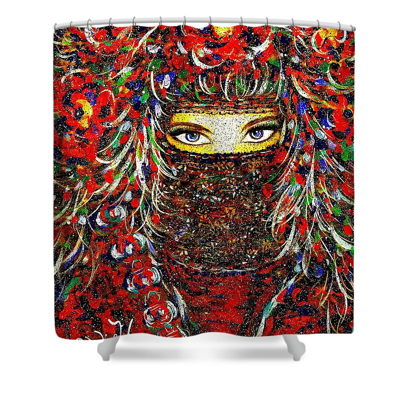 Woman Shower Curtain featuring the painting Arabian Eyes by Natalie Holland