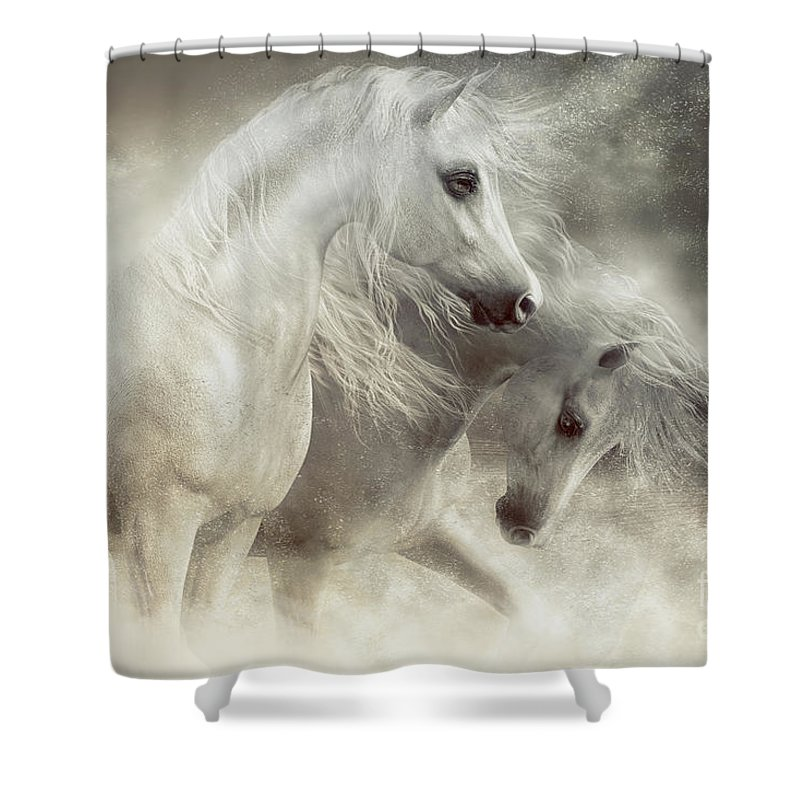 Arabian Horse Shower Curtain Featuring The Digital Art Horses Sandstorm By Shanina Conway