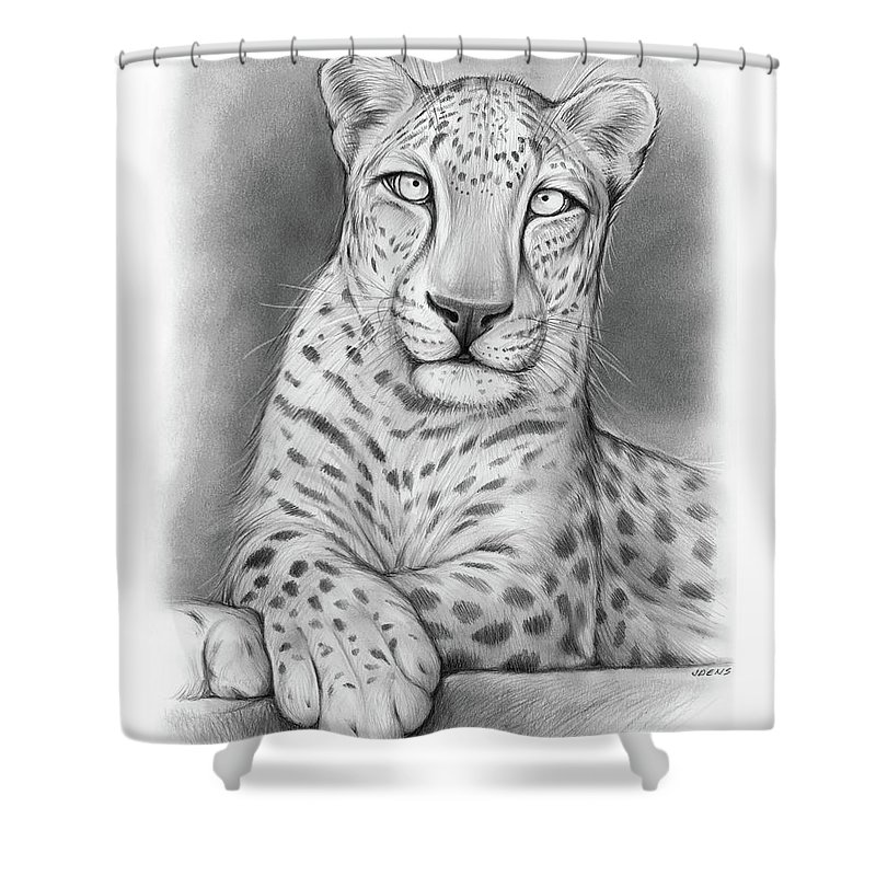 Arabian Leopard Shower Curtain Featuring The Drawing By Greg Joens