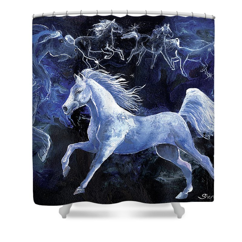 Horse Shower Curtain featuring the painting Arabian Night by Sherry Shipley