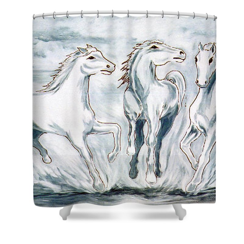 Horses Shower Curtain featuring the painting Arabian Roots by Marco Morales