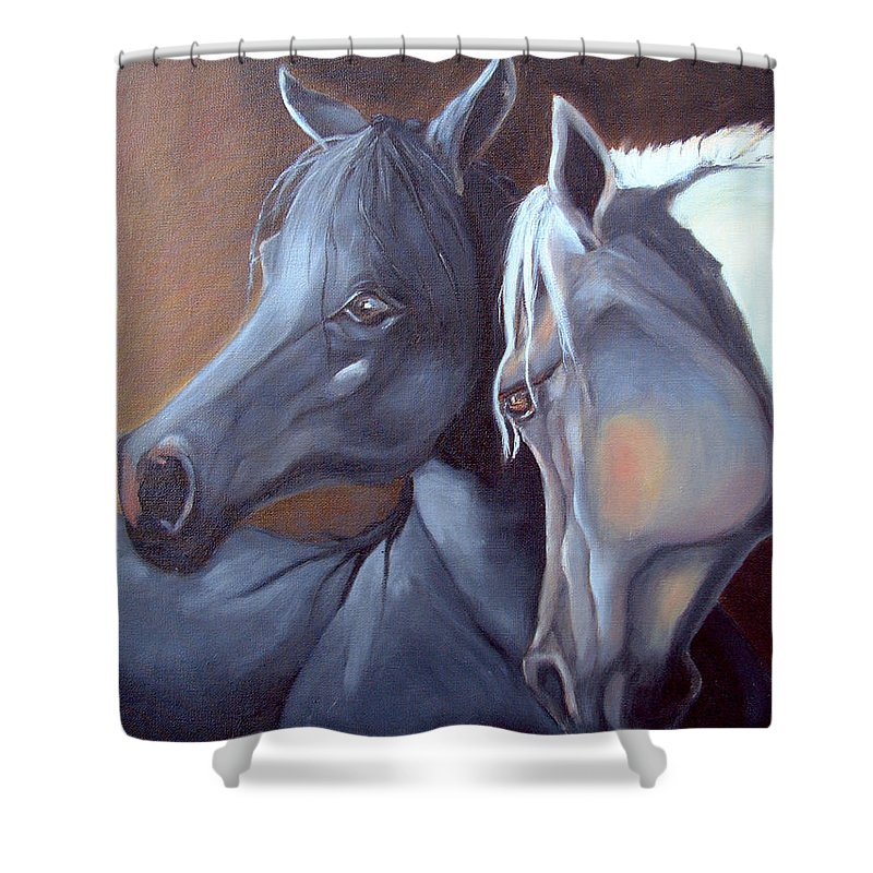Equestrian Art Shower Curtain featuring the painting Arabique by Portraits By NC