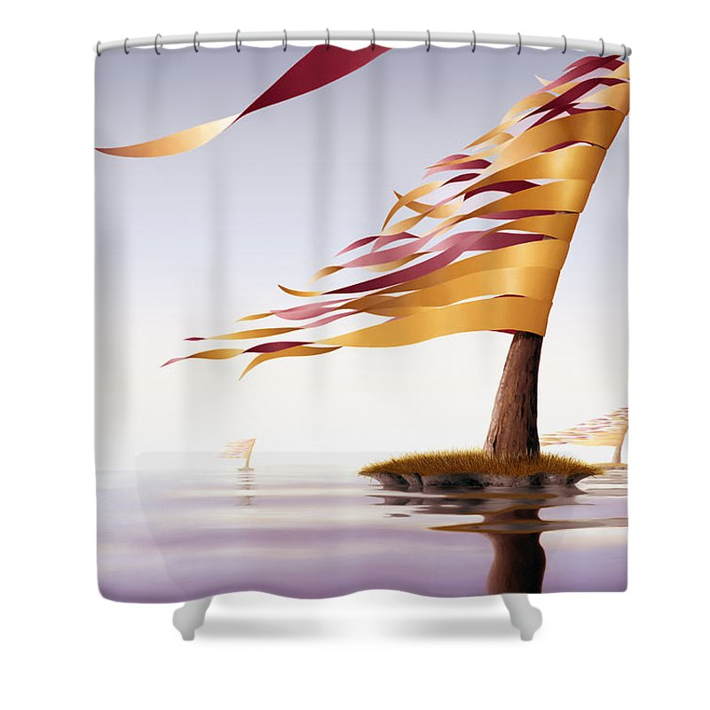 Tree Shower Curtain featuring the painting Araucaria Velum by Patricia Van Lubeck