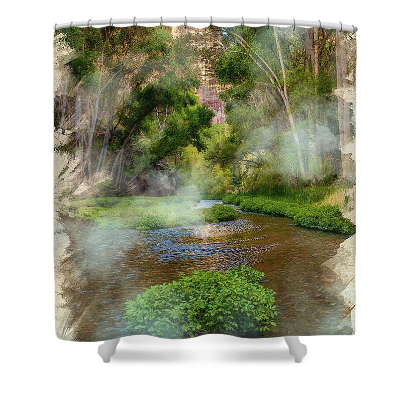 Decoration Shower Curtain featuring the digital art Aravaipa Creek by Don Kuing