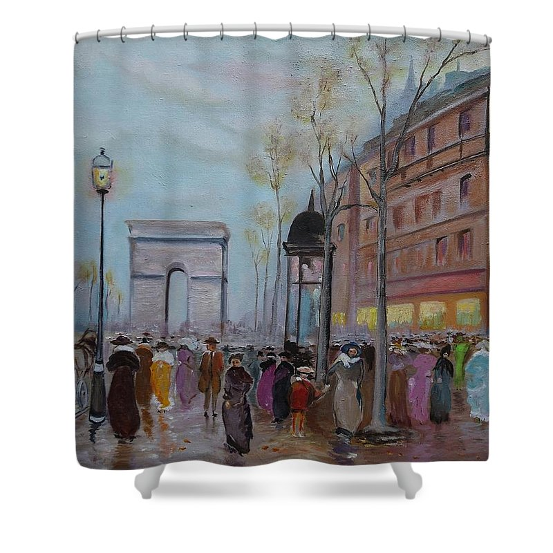 Paris Shower Curtain featuring the painting Arc De Triompfe - Lmj by Ruth Kamenev