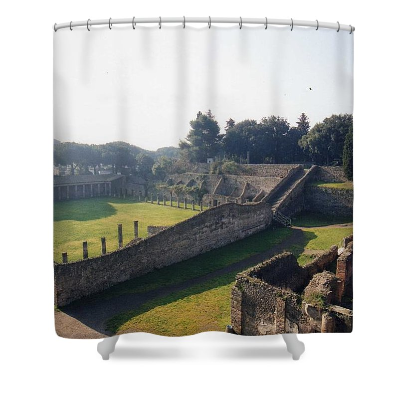 Gladiators Shower Curtain featuring the photograph Arcaded Court Of The Gladiators Pompeii by Marna Edwards Flavell