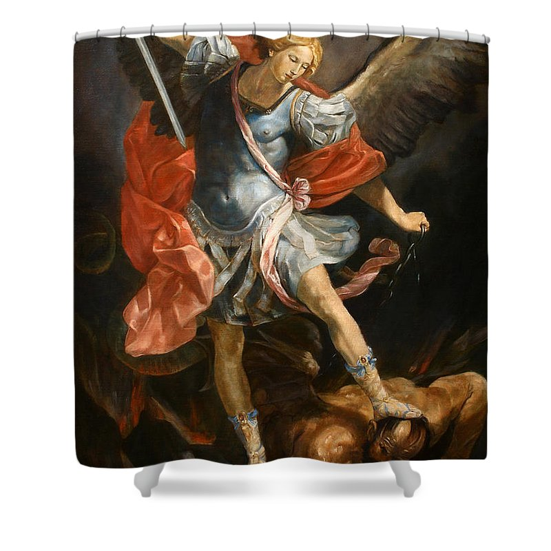 Realism Shower Curtain featuring the painting Archangel Michael by Darko Topalski