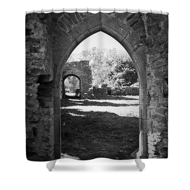 Irish Shower Curtain featuring the photograph Arched Door At Ballybeg Priory In Buttevant Ireland by Teresa Mucha
