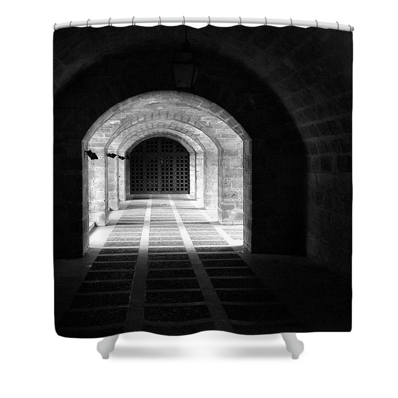 Landscape Shower Curtain featuring the photograph Arched Hallway In Palma by Donna Corless