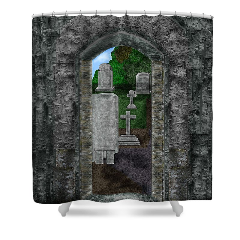 Digital Landscape Shower Curtain featuring the painting Arches And Cross In Ireland by Anne Norskog