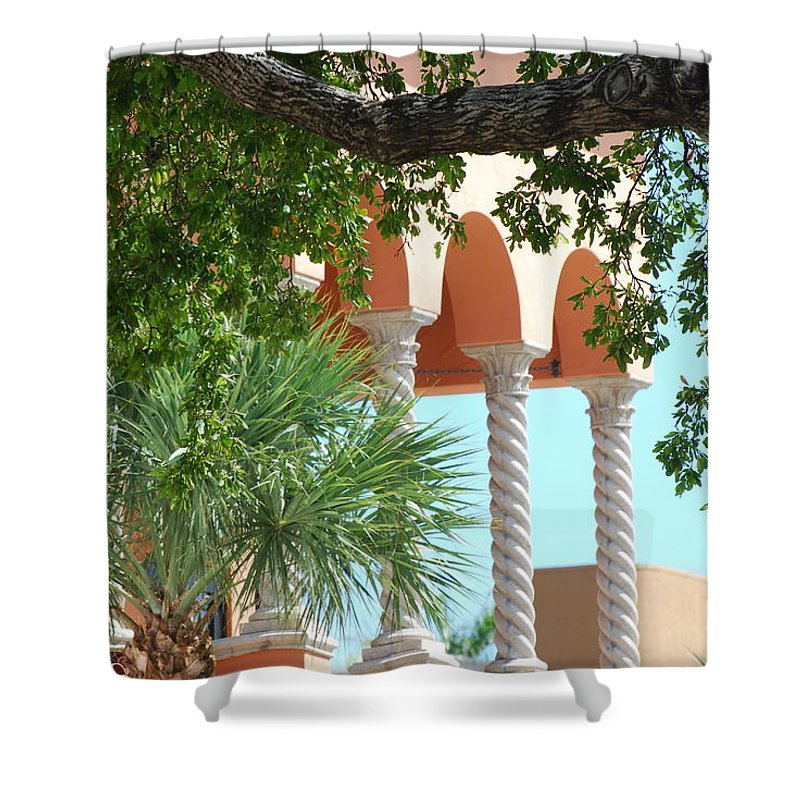 Architecture Shower Curtain featuring the photograph Arches Thru The Trees by Rob Hans